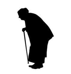Silhouette of a old woman with cane vector