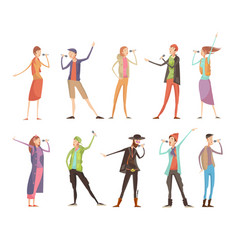 Singing people karaoke set vector