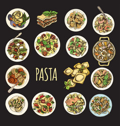 sketch - pasta set italian vector image