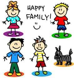 Stick figure gay family men vector image