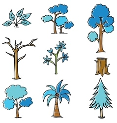 Style tree set in doodles vector