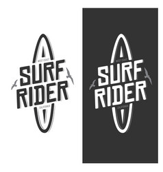 surf rider lettering poster vintage vector image