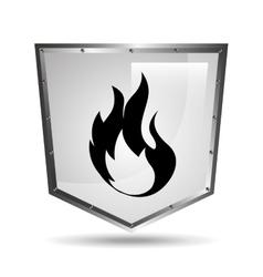 symbol fire icon shield steel design vector image