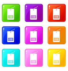 Tag with bar code icons 9 set vector