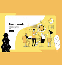 Teamwork landing page employees working together vector