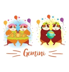 The signs of the zodiac Guinea pig Gemini vector