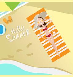 tourist woman lying on beach top angle view hello vector image