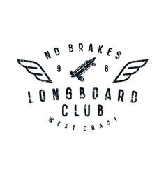Typographic emblem of longboard club vector