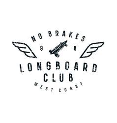 typographic emblem of longboard club vector image