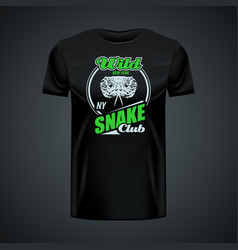 vintage logo wild snake club printed on black vector image