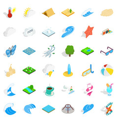 water in nature icons set isometric style vector image