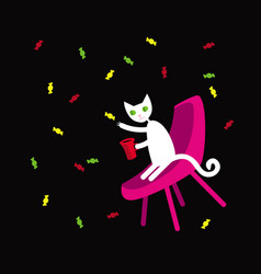 white cat collects colorful candies flying around vector image