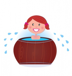 woman in cold barrel vector image