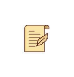 write paper scroll logo icon design vector image