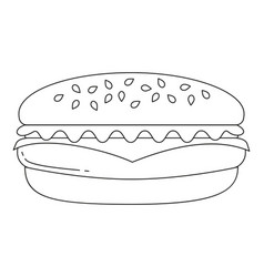 black and white burger hamburger cheeseburger fast vector image vector image