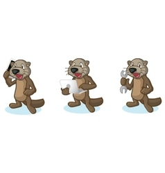 Dark brown sea otter mascot with laptop vector