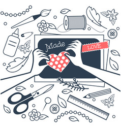handmade crafts workshop black and white vector image vector image