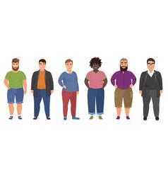 happy fat man set in casual clothes funny cartoon vector image