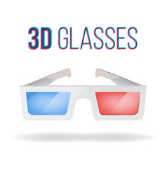 realistic 3d glasses red blue paper vector image