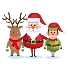 santa claus reindeer and elf christmas vector image