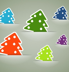 Christmas colorful tree stickers in pockets vector image vector image