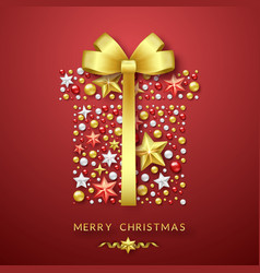christmas giftbox background with shining bow vector image