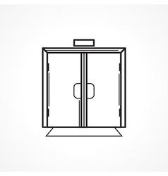 Indoors glass door black line icon vector image vector image