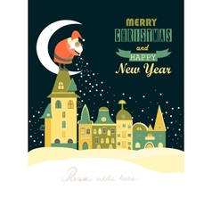 Santa Claus spreads snowflakes over the night vector image