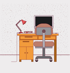 color background with sparkles and work place home vector image vector image