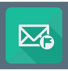 Mail icon envelope with flag Flat design vector image vector image