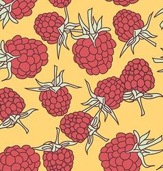 ripe raspberry seamless pettern on oranje vector image vector image