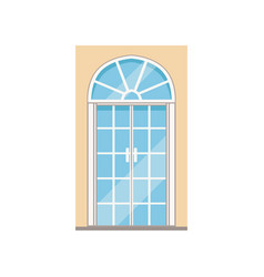 double glass paned arched front doors closed vector image vector image