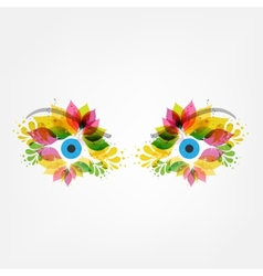 Floral eyes vector image vector image