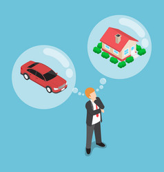 isometric businessman dreaming about house and car vector image