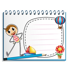 A notebook with a drawing of a person exercising vector image