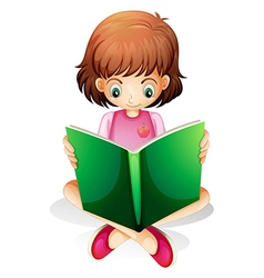 A young girl reading a green book vector image