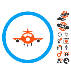 aircraft icon with valentine bonus vector image