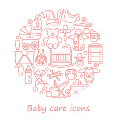 Baby care line icons in form a circle vector