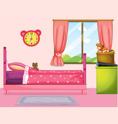 bedroom with pink bed and curtain vector image