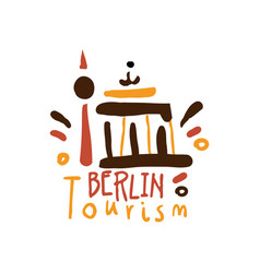 berlin tourism logo template hand drawn vector image