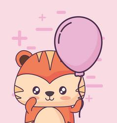 Birthday card with cute tiger kawaii character vector