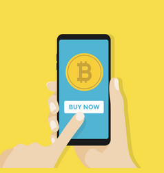 Bitcoin on the screen of a mobile phone vector