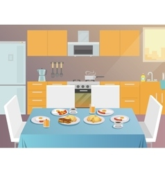 Breakfast Table Flat vector image