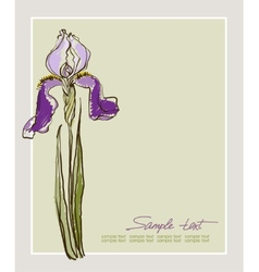 card design with decorative iris flower vector image