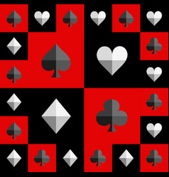 Card suit chess board red and black pattern vector