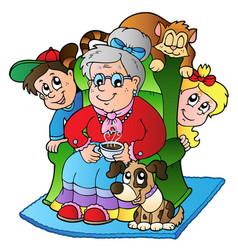 Cartoon grandma with two kids vector