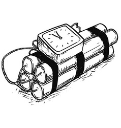 Cartoon of time bomb with analog alarm clock vector