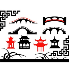 Collection of Asian Bridges vector image