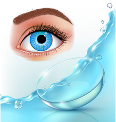 Contact lenses in water splashes eye realistic vector