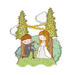 couple marriage cute cartoon vector image